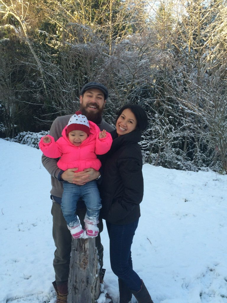 Tim, Pauline and Evie (first snow in 2014 )