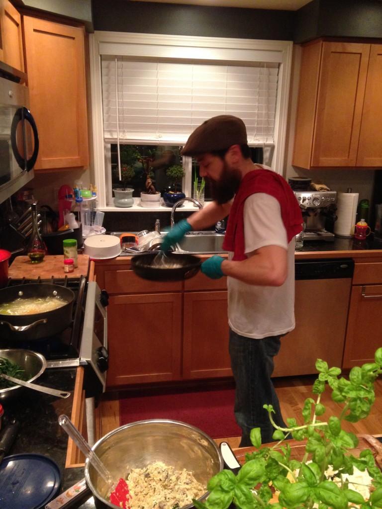 Chef Tim preparing the 3-cheese sauce!