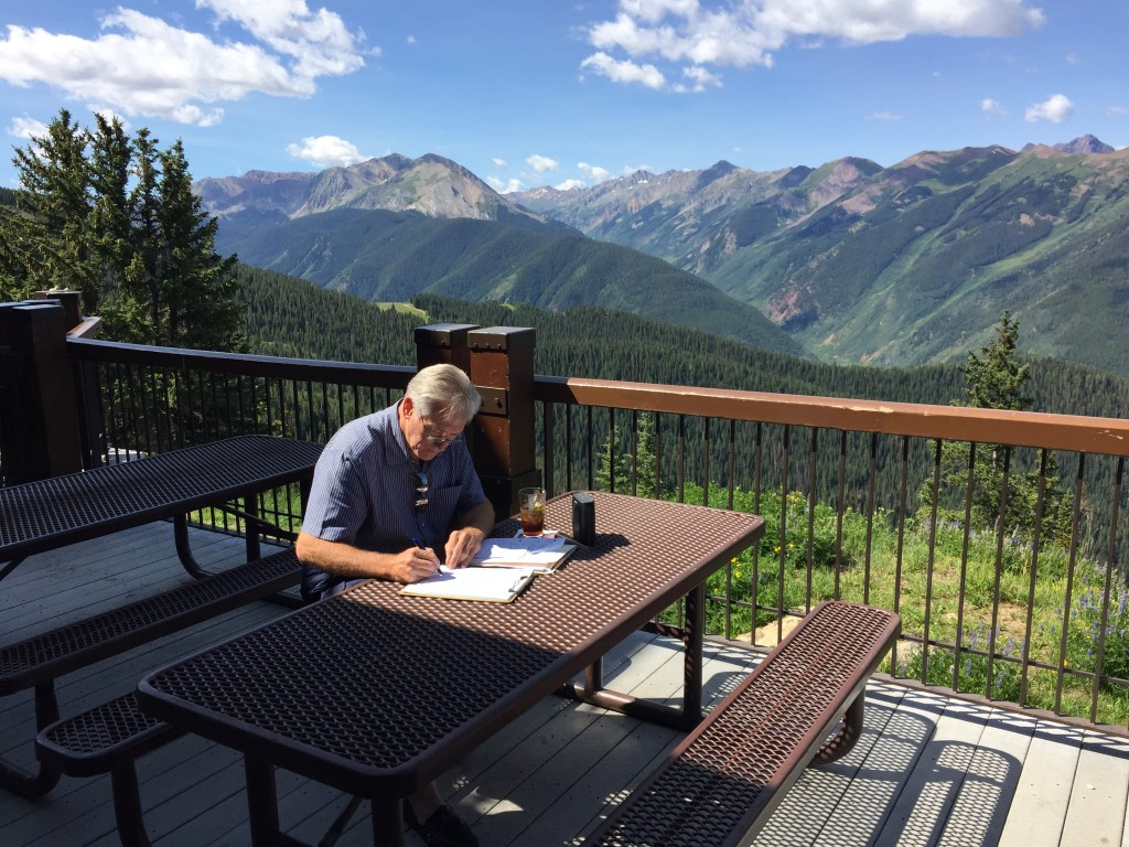 """My office"" at Sundeck on Aspen Mountain"