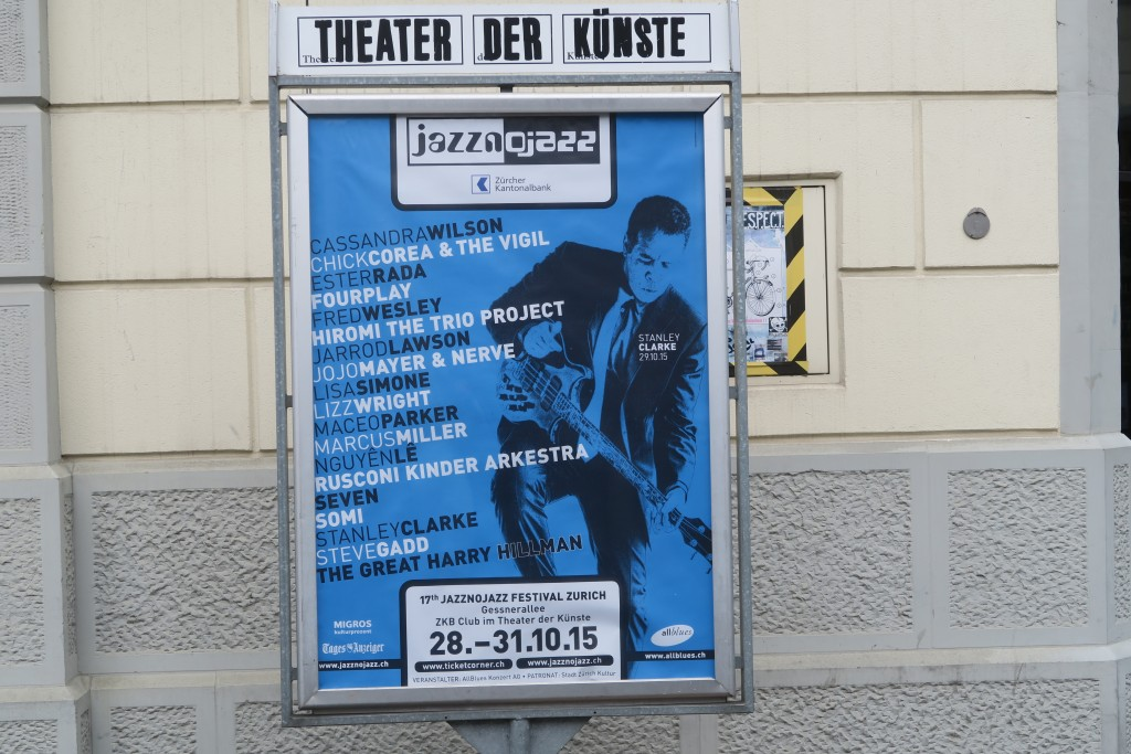 Billboard of all the artists performing at the Gessernallee Theater and the ZKB Club