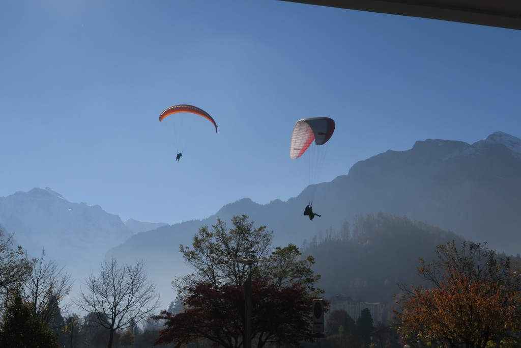 Paragliders lightly touching down in the meadow in Interlaken