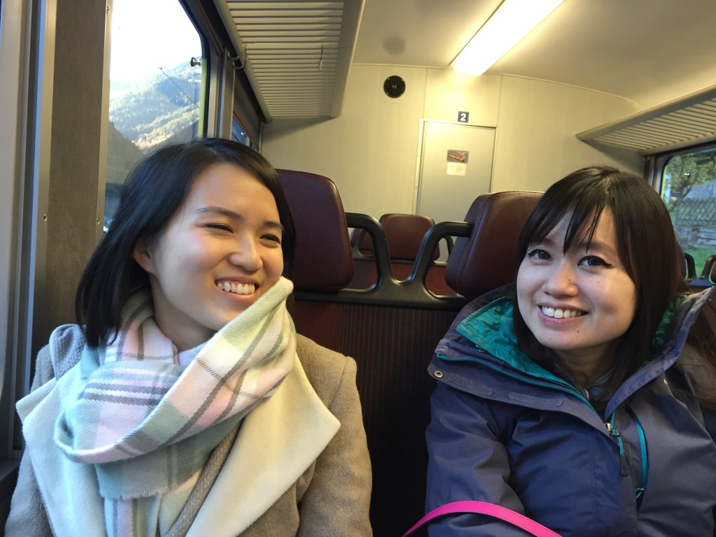 On the train leaving Grindelwald and heading to Interlaken Switzerland