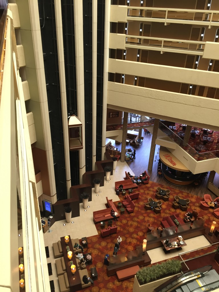 Spacious, visually striking atrium within the Hyatt Regency Austin